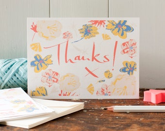 Thanks Postcard, set of six thank you postcards, thank you cards, Thank you notecard set,  thanks social stationery, by Inkpaintpaper