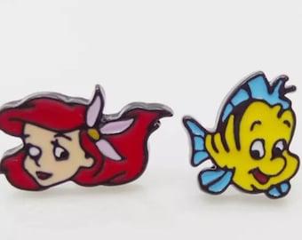 Little Mermaid And Flounder Stud Earrings