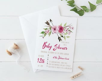 Rustic Baby Shower Invitation, Floral Baby Shower Invitation, Boho Baby Shower Invitation, Tribal Baby Shower, Baby Shower Girl, Girl Baby