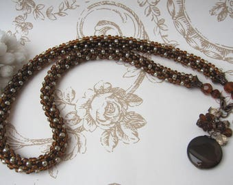 Necklace brown and beige polka dot glass beads Medley 'Classic'