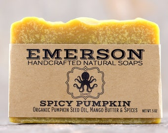 100% Natural Spicy Pumpkin Soap with Organic Pumpkin Seed Oil, Cinnamon, Clove & Ginger • Vegan Soap, Palm Free Soap, Stocking Stuffer
