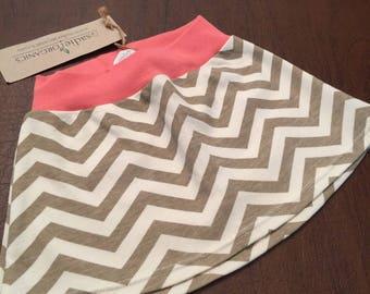 Organic Cotton Baby Clothes Handmade Mushroom and Cream Chevron Skirt 6-9mo