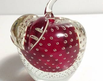 Mid-Century Murano Italian Art Glass Ruby Red Sommerso Bullicante Apple Paperweight