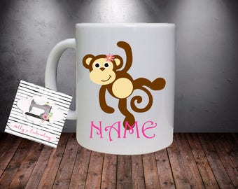 Personalised Girl Monkey Kids Mug.