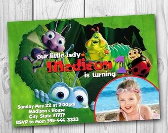 A Bug's Life Invitation - Bug's Life Birthday Party Invitation - A Bug's Life Printable - Bug Lady Invitations