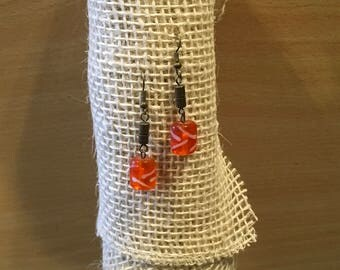Orange Glass Dangles