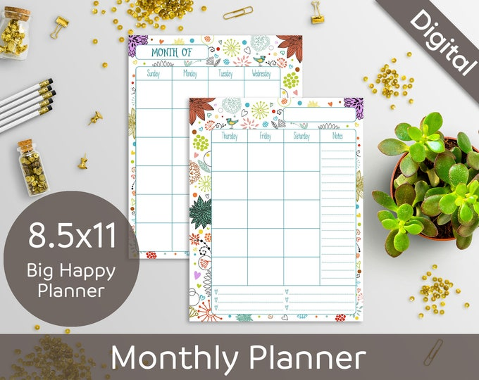 8.5x11 Monthly Planner Printable, 2 Page Undated Monthly, Letter size, Syasia Cute Floral Day Organizer, DIY Planner PDF Instant Download