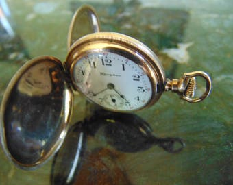 Super Nice 15 Jewel 3/0 Size Gold Filled Hunter Case Hampden Early 1900's Pocket Watch