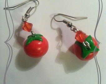 """Earring """"Vegetable tomato red"""""""