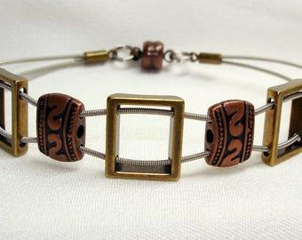 Unisex Guitar String Bracelet Brass Antique Copper Sliders