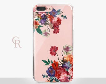 Floral iPhone 7 Clear Case - Clear Case - Clear Case - For iPhone 8 - iPhone X - iPhone 7 Plus - iPhone 6 - iPhone 6S  iPhone SE Transparent