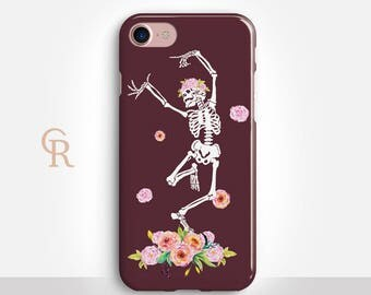Skeleton Phone Case For iPhone 8 iPhone 8 Plus iPhone X Phone 7 Plus iPhone 6 iPhone 6S  iPhone SE Samsung S8 iPhone 5 Floral Halloween