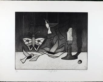 Tighe O'Donoghue, Vintage Black, and White Aquatint Etching Limited Edition #99