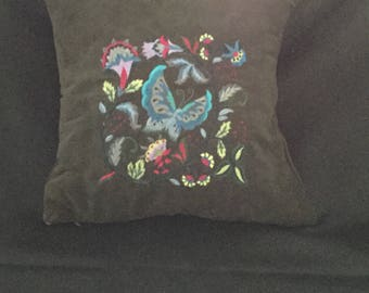 Embroidered accent pillow cover, butterfly throw pillow cover, decorative pillow cover, cushion cover, embroidered pillow