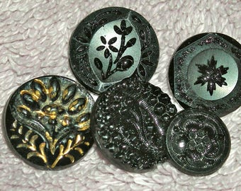 Antique Lot of 5 Victorian Black Glass Buttons, Mourning Buttons, Shank, Self Shank, Half Inch, Antique Supply, Collectible, Circa Mid 1800s