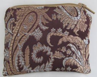 Small Brown, Copper and Silver Print Brocade and Satin Coinpurse Coin Purse Pendulum Crystals Zipper Bag Pouch Fancy