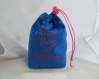 Dice Bag Pouch Velvet Dungeons and Dragons D&D RPG Role Playing Die Blue Dice Bag of Holding Reversible Lined