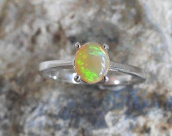 Natural Welo Crystal Opal with Multi-Color Fieres Sterling Silver Ring.