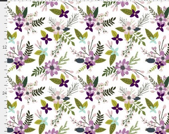 Sprigs and Blooms Curtains / Purple Floral Curtains / Girl Nursery Curtains / Spoonflower / Bedroom Curtains / Blackout Curtains