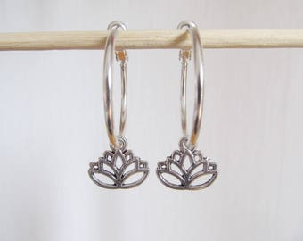 Lotus earrings, yoga earrings, creole earrings
