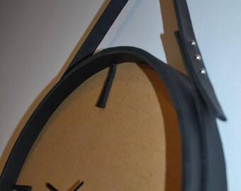 Original leather wall clock ECO Handmade 13,5 inches