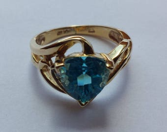 14K Yellow Gold Blue Topaz & Diamond Ring, Blue Topaz Trillion, December Birthstone