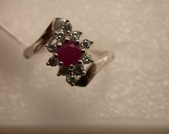 Ruby Sterling Silver Ring, Ruby Halo Ring, Rhodium Plated, Natural Gemstone, July Birthstone Ring