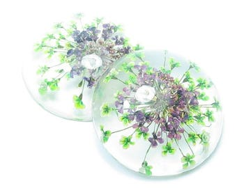 CABOCHON 25mm flowers dried natural LILAC and green