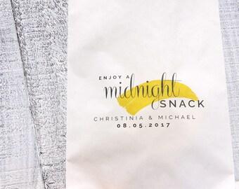 Midnight Snack Favor Bag, Wax Lined Favor Bag, Custom Favor Bag, Popcorn Bag, Dessert Table, Candy Table, Wedding Favor, Love is Sweet