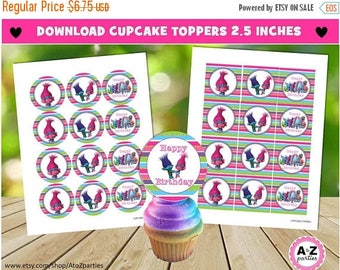 60% OFF Trolls Glitter Cupcake Toppers, Round and Square, Trolls Party, Printable, Colorful, Rainbow, Poppy, Branch, Circles, DIY