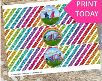 Trolls Glitter Rainbow Water Wrappers, Instant Download, Trolls Party, signs, centerpiece, coordinating items avail for purchase, labels