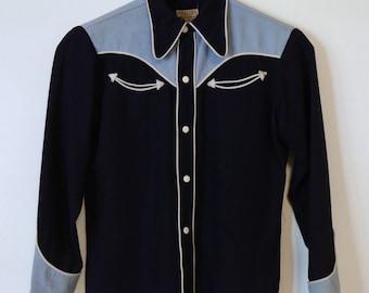 Vintage 1940s 50s Miller Western wear Shirt Embroidered Gabardine Western Cowboy size 12
