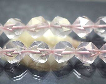 Natural Faceted Star Cut Crystal Quartz Nugget Beads, 15 inch strands 6mm 8 mm 10mm 12mm
