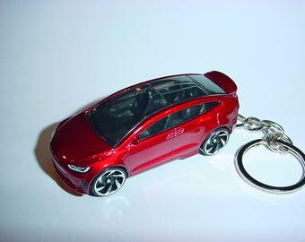 3D Tesla Model X custom keychain by Brian Thornton keyring key chain finished in beautiful red trim electric car awd models