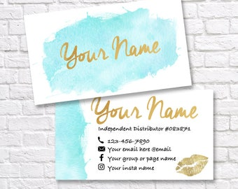 LipSense business card - SeneGence business card - Custom LipSense business cards - LipSense Distributor - Mint and gold business card