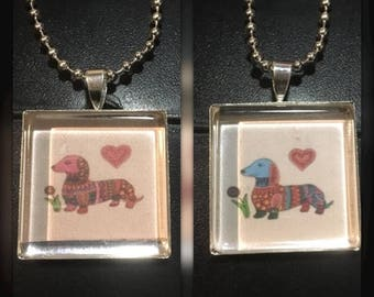 Dachsund Dog Art Pendant and Chain Necklace- Original Painting and Glass Top Sausage Dog