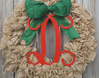 Christmas Wreath, Holiday Wreath, Winter Wreath, Christmas Monogram Wreath, Monogram Wreath, Initial Wreath, Front Door Wreath, Burlap