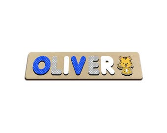 Jungle Friends Personalized Wooden Name Puzzle With Tiger In Blues & Grey Polka Dots Personalized Gift for Boy 572320620