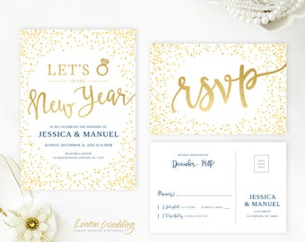 New Years Eve wedding invitation with RSVP card Gold