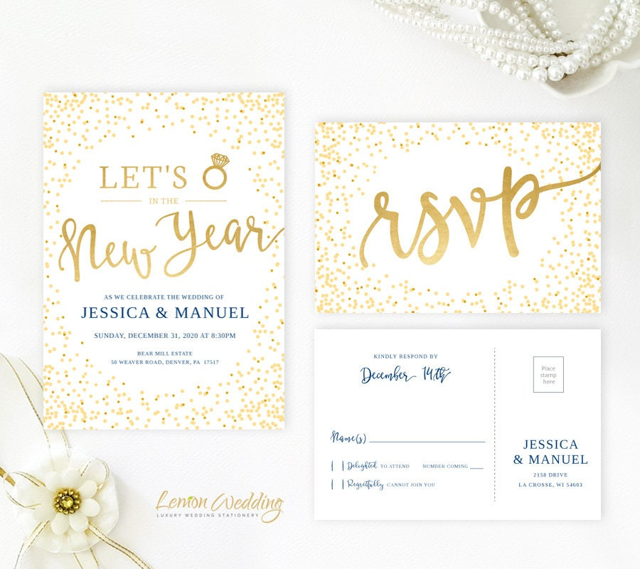 New Year's Eve Wedding Invitation And RSVP Card