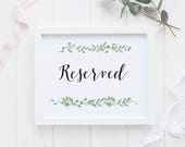Reserved Printable Wedding Signs Wedding Reception Sign - Reserved Reception Printable Signage PDF Download - (Item code: P126)