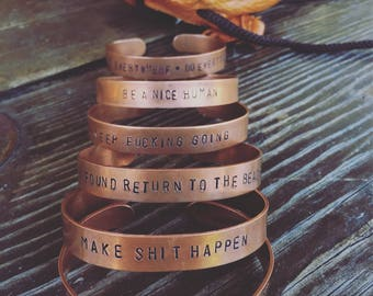 Custom Copper Stamped Bracelet