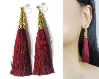 Burgundy Bordeaux Red Tassel Clip On Earrings |35F| Dangle Long Clip Earring, Gold Clip-ons, Boho Wedding Bridal Clip on Non Pierced Earring