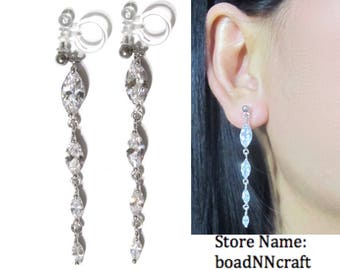 Marquise Cut Clear Crystal Rhinestone Non Pierced Clip On Earrings Wedding Dangle |39h| Long Bridal Silver Clip On Earrings Dainty Clip-ons