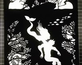 The Little Mermaid Papercut Art Work - Cut By Hand From A Single Sheet Of Paper