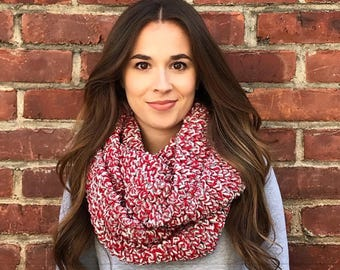 Chunky Scarf, Blanket Scarf, Infinity Scarf, Red, Gray, and White Scarf, Crochet Scarf, Chunky Crochet, Circle Scarf, Winter Accessory, Fall