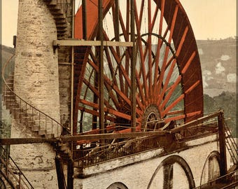 Poster, Many Sizes Available; Laxey Wheel The Wheel, Laxey, Isle Of Man C1900