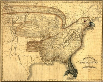 Poster, Many Sizes Available; Eagle Map Of The United States 1833