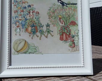vintage elsa beskow illustration drawing bookpage print reproduction