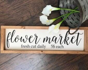 Spring Decor - Flower Sign - Spring Sign - Garden Decor - Farmhouse Decor - Flower Market - Vintage Decor - Vintage Sign - F
